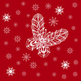 Ornamented abstract lace snowflake butterfly and simple snowflak Royalty Free Stock Image