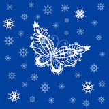 Ornamented abstract lace snowflake butterfly and simple snowflak Stock Images