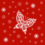 Ornamented abstract lace snowflake butterfly and simple snowflak. Abstract silhouette invented decorative butterfly and snowflakes. It is designed to decorate Stock Images