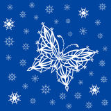 Ornamented abstract lace snowflake butterfly and simple snowflak. Abstract silhouette invented decorative butterfly and snowflakes. It is designed to decorate Stock Photo
