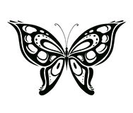 Ornamented abstract silhouette butterfly Stock Images