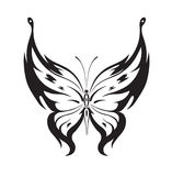 Ornamented abstract silhouette butterfly. Abstract silhouette invented decorative butterfly. Reminiscent of lace, it is designed to decorate royalty free illustration