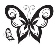 Ornamented abstract silhouette butterfly Stock Photography