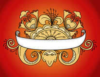 Ornamented banner. Fantastic style ornamented banner on red Stock Images