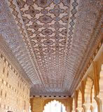 An Ornamented Ceiling in Mirror Palace, Amer Palace, Jaipur, Rajasthan, India Royalty Free Stock Photos