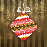Ornamented christmas bauble. Vintage greeting card with ornamented christmas bauble stock illustration