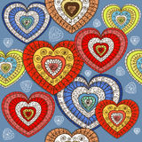Ornamented color hearts Royalty Free Stock Photos