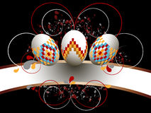Ornamented Easter eggs on black background Stock Photos