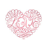 Ornamented heart with word Love in the center Royalty Free Stock Images