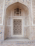 Ornamented marble window in Agra. India stock images
