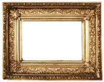 Ornamented Picture Frame Gold (Path Included). Ornamented, gold plated empty picture frame for putting your pictures in. Clipping path included stock photography