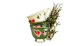 Ornamented teapots with growing tea leaves Royalty Free Stock Photo