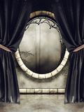 Vintage window and black curtains Royalty Free Stock Photos
