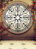 Ornamented window with rose vines. Ornamented fantasy window with red rose vines Stock Photo