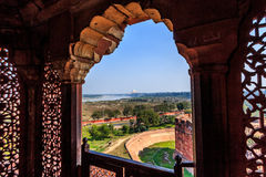 Ornamented window and the Taj Royalty Free Stock Images