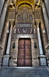 Ornamented wooden door of an old mosque in old Cairo, Egypt Stock Images