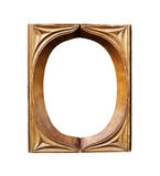 Ornamented, wooden empty oval picture frame. Ornamented, old, wooden empty oval picture frames royalty free stock image