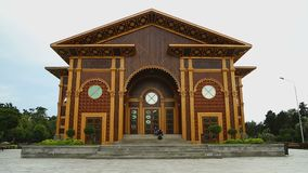 Ornamented wooden facade of Summer Theater in Batumi, cultural events venue. Stock footage stock video footage