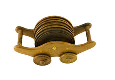 Ornamented pallet holder with six round coaster Royalty Free Stock Photography