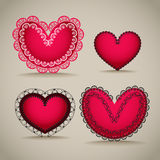 Ornamentel red hearts Stock Image