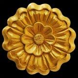 Ornamentelementen, uitstekende gouden bloemen Stock Foto