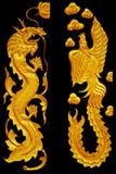 Ornamentelementen, uitstekende Gouden Dragonl en zwaanontwerpen Stock Fotografie
