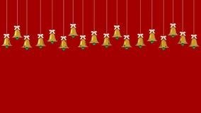 Ornamenten die van Kerstmis de gouden klokken op rode achtergrond hangen de ruimte van het beeldexemplaar voor het ontwerpadverte royalty-vrije illustratie