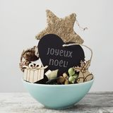 Ornamenten en tekst vrolijke Kerstmis in het Frans royalty-vrije stock fotografie