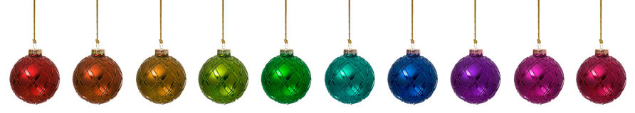 Ornamenten: Geïsoleerde het Ornamentgrenzen van Regenboogkerstmis Royalty-vrije Stock Afbeelding