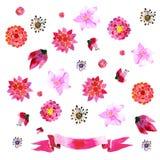 Ornamenten met geschilderde rode bloemen stock illustratie
