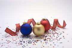 Ornamenten met lint en confettien Royalty-vrije Stock Afbeelding