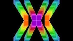 Ornamenti al neon composti dagli elementi quadrati Video astratto su fondo nero Fondo dell'insegna di pubblicità, discoteca illustrazione di stock