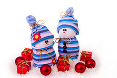 Ornamenti allegri di Natale dei pupazzi di neve Fotografia Stock Libera da Diritti