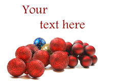 Ornamenti anno del nuovo o di natale su bianco Fotografie Stock