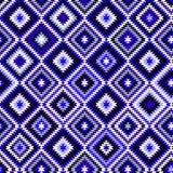 Ornamenti aztechi blu e bianchi neri geometrici Immagini Stock Libere da Diritti