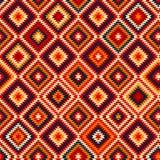 Ornamenti aztechi blu gialli rossi variopinti modello senza cuciture etnico geometrico, vettore Immagini Stock Libere da Diritti
