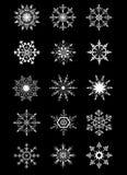 Ornamenti bianchi originali dei fiocchi di neve della raccolta Fotografie Stock
