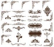 Ornamenti d'annata stabiliti di vettore, angoli, confini Fotografia Stock
