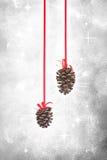 Ornamenti del cono del pino di natale Fotografie Stock