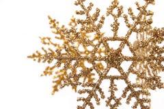 Ornamenti del fiocco di neve di scintillio dell'oro Immagine Stock Libera da Diritti