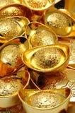 Ornamenti del lingotto dell'oro Fotografie Stock Libere da Diritti