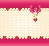 Ornamenti del merletto e cuore ed arco Fotografia Stock Libera da Diritti