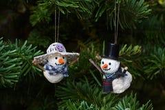 Ornamenti dell'albero del pupazzo di neve di natale Immagini Stock Libere da Diritti