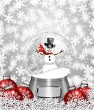 Ornamenti dell'albero di Natale del pupazzo di neve e del globo della neve Immagini Stock Libere da Diritti