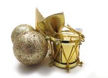 Ornamenti dell'albero di Natale dell'oro Fotografie Stock