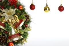 Ornamenti dell'albero di Natale e della corona Immagine Stock Libera da Diritti