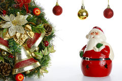 Ornamenti dell'albero di Natale e della corona Immagine Stock