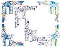 Ornamenti dell'angolo del contenitore di regalo Immagini Stock