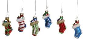 Ornamenti della calza di natale Fotografia Stock