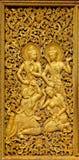 Ornamenti di Budhist in un cancello dorato Fotografia Stock Libera da Diritti